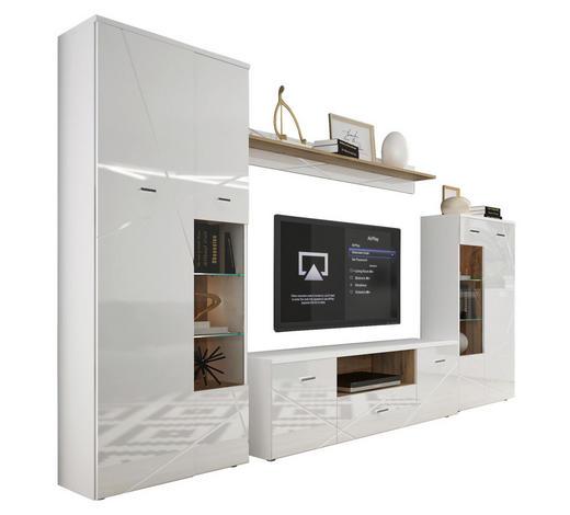 WOHNWAND in Weiß, Eichefarben - Eichefarben/Silberfarben, MODERN, Glas/Holzwerkstoff (340/196/40cm) - Hom`in