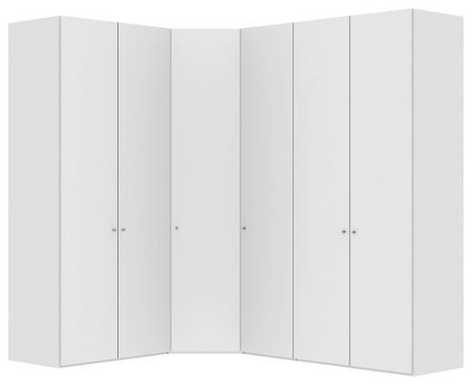 ECKSCHRANK Weiß - Silberfarben/Weiß, Design, Holzwerkstoff/Metall (246/196/236/58,5cm) - Jutzler