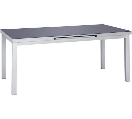 ZAHRADNÍ STŮL, barvy stříbra, tmavě šedá - barvy stříbra/tmavě šedá, Basics, kov/sklo (180(240)/100/76cm) - Ambia Garden