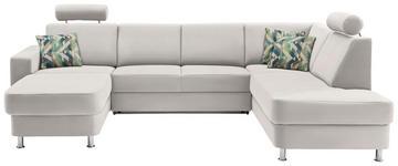 WOHNLANDSCHAFT in Textil Beige, Creme - Chromfarben/Beige, Design, Kunststoff/Textil (165/301/198cm) - Xora