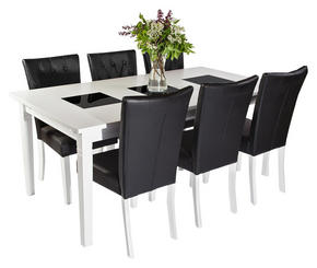 MATGRUPP - vit/svart, Lifestyle, glas/trä (180/75/95cm)