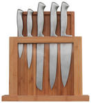MESSERBLOCK Edelstahl 7-teilig  - Silberfarben/Naturfarben, Basics, Holz/Metall - Homeware Profession.
