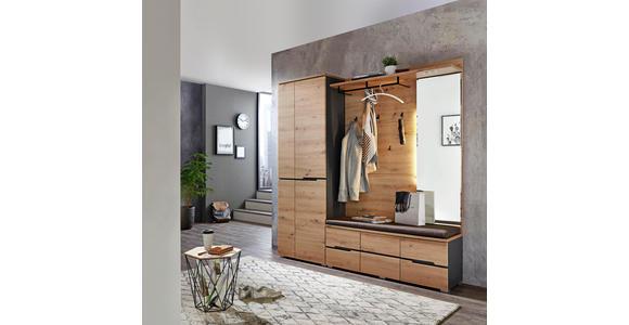 GARDEROBENBANK Webstoff Graphitfarben, Eichefarben  - Eichefarben/Graphitfarben, Design, Textil (120/48/38cm) - Voleo