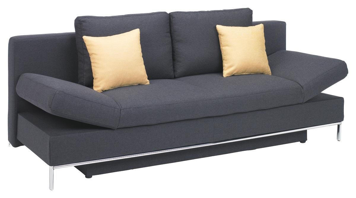 SCHLAFSOFA Flachgewebe Grau - Chromfarben/Grau, Design, Textil/Metall (203/83/90cm) - NOVEL