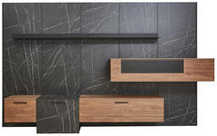 WOHNWAND in Anthrazit, Nussbaumfarben, Schieferfarben  - Schieferfarben/Anthrazit, Design, Glas/Holz (344/213,2/55,2cm) - Dieter Knoll