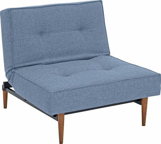 SESSEL Blau - Blau/Ulmefarben, Design, Holz/Textil (90/79/115cm) - Innovation