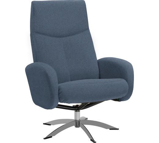 RELAXAČNÍ KŘESLO, textil, modrá - modrá/barvy chromu, Design, kov/textil (71/104/72cm) - Welnova