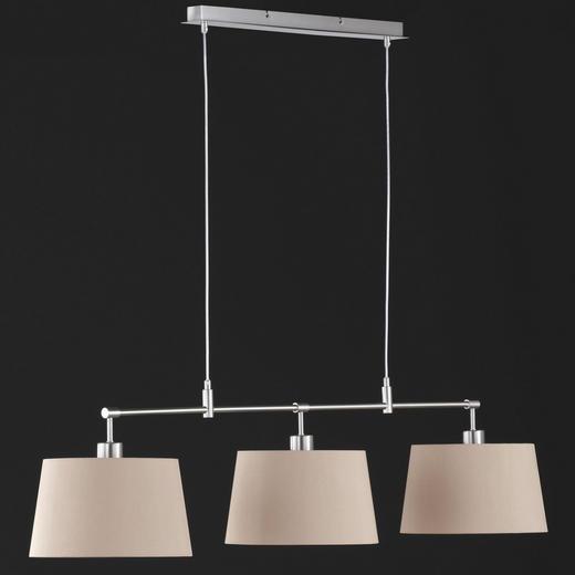 HÄNGELEUCHTE - Braun/Nickelfarben, LIFESTYLE, Textil/Metall (128cm)