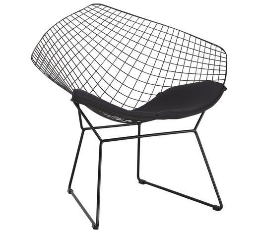 STUHL in Metall, Textil Schwarz - Schwarz, Design, Textil/Metall (82/76/68,5cm)