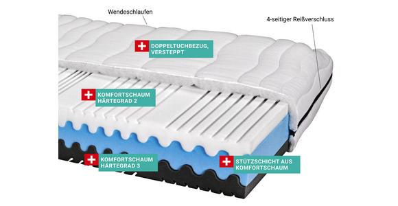 Komfortschaummatratze Silvy 90x200cm H2/H3 - Weiß (90/200cm) - Primatex