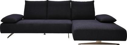 Ecksofa Flachgewebe - Schwarz/Nickelfarben, Design, Textil (315/176cm) - DIETER KNOLL
