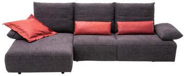 WOHNLANDSCHAFT Anthrazit Mikrofaser - Anthrazit/Schwarz, Design, Kunststoff/Textil (155/305cm) - Dieter Knoll