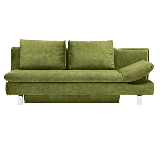 ROZKLÁDACÍ POHOVKA, textil, zelená - zelená/barvy chromu, Moderní, kov/textil (214/90/93cm) - Novel