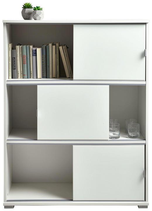 REGAL Weiß - Alufarben/Weiß, KONVENTIONELL, Glas/Kunststoff (93/121/42cm) - Xora