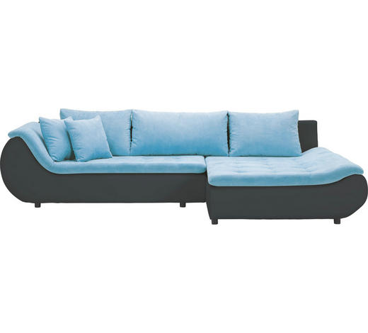 WOHNLANDSCHAFT in Textil Blau, Schwarz  - Blau/Schwarz, Design, Kunststoff/Textil (310/185cm) - Carryhome