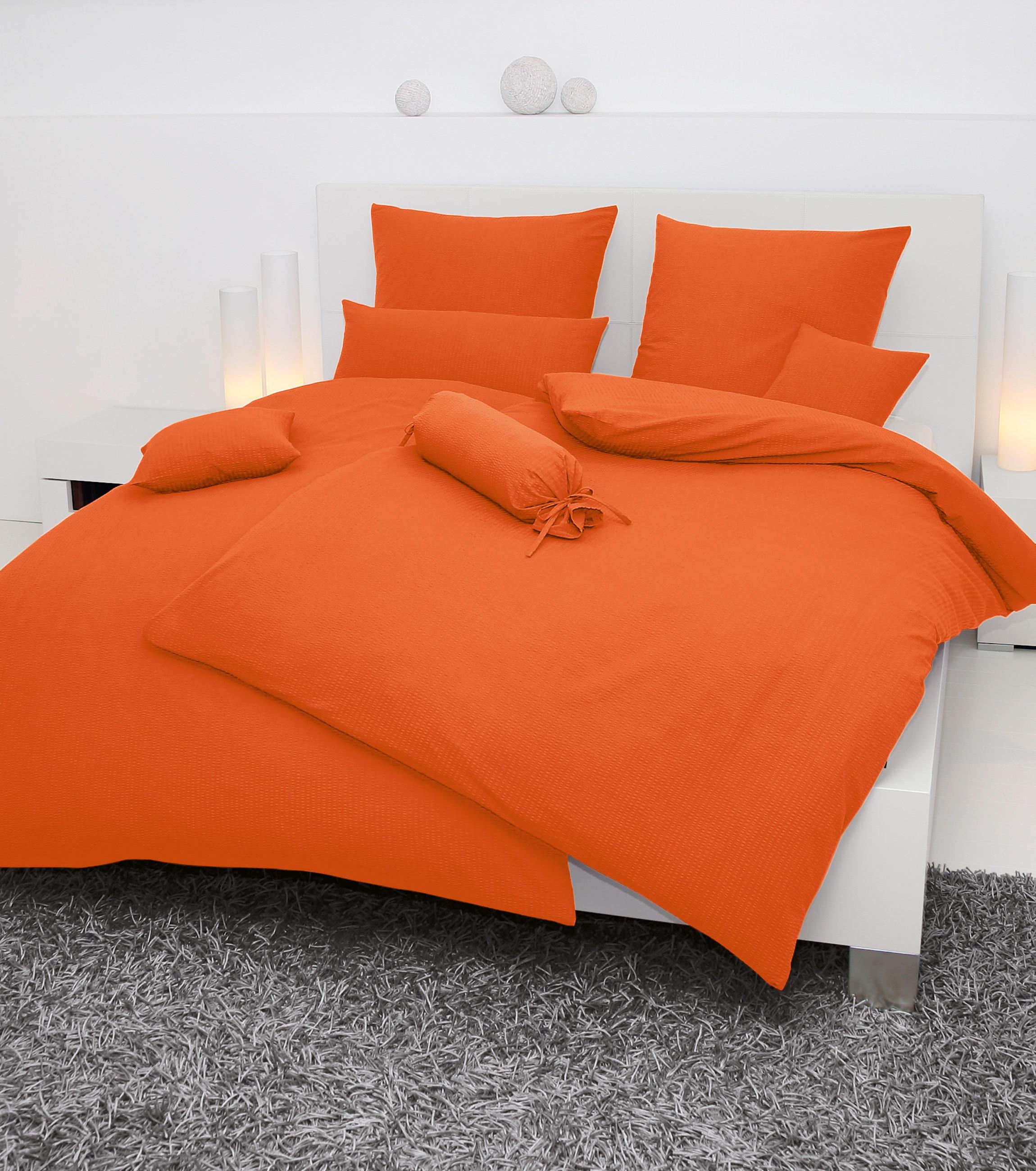 BETTWÄSCHE Seersucker Orange 155/220 cm - Orange, Basics, Textil (155/220cm) - JANINE