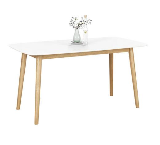 ESSTISCH IN EICHE MASSIV,WEIß Eiche massiv rechteckig Weiß, Eichefarben - Eichefarben/Weiß, Design, Holz (150/80/75,5cm) - Carryhome