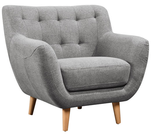 KŘESLO, textil, šedá, světle šedá - šedá/světle šedá, Design, dřevo/textil (90/84/84cm) - Carryhome