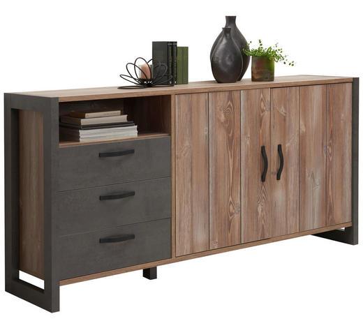 KOMODA SIDEBOARD, barvy borovice, tmavě šedá - barvy borovice/černá, Trend, kov/kompozitní dřevo (189,5/93,4/43,1cm) - Carryhome