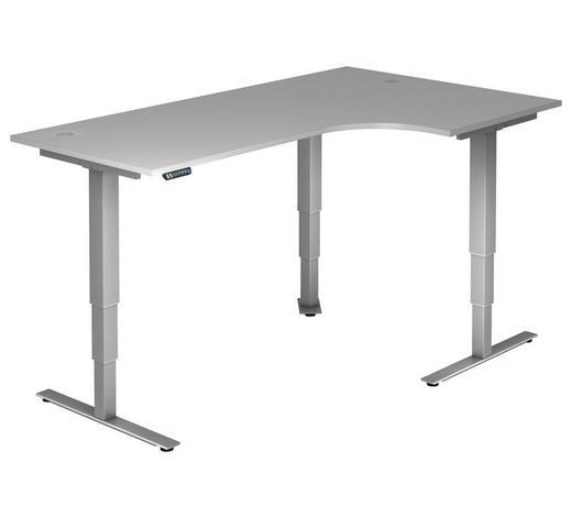 SCHREIBTISCH - Silberfarben/Grau, KONVENTIONELL, Holzwerkstoff/Metall (200/63,5-128,5/120cm)