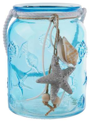 LJUSLYKTA - vit/ljusblå, Lifestyle, ytterligare naturmaterial/glas (10,8/14,5cm) - Ambia Home