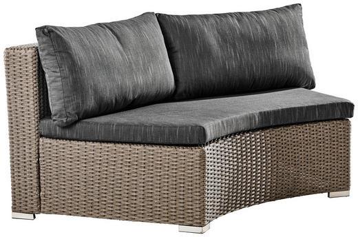LOUNGEMITTELTEIL Kunststoffgeflecht Aluminium - Schwarz/Grau, Trend, Kunststoff/Textil (166/70/88cm) - Ambia Garden