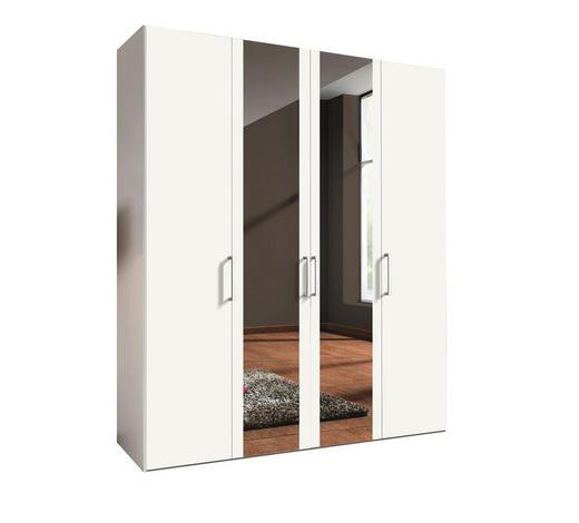 DREHTÜRENSCHRANK 4-türig Weiß  - Alufarben/Weiß, KONVENTIONELL, Glas/Holzwerkstoff (200/216/58cm) - Hom`in