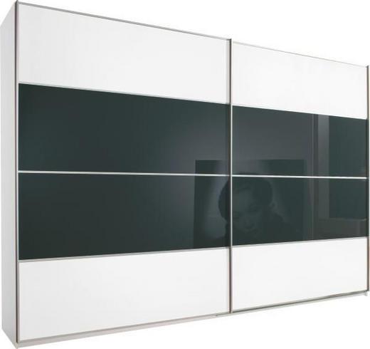 SCHWEBETÜRENSCHRANK 2-türig Schwarz, Weiß - Silberfarben/Schwarz, Basics, Glas/Holz (226/223/69cm) - Cantus