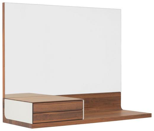 KONSOLE in Holz, Glas, Leder - Nussbaumfarben, Natur, Glas/Leder (130/100,8/45,8cm) - Team 7