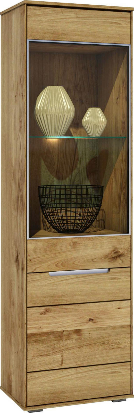 VITRINE Wildeiche massiv Eichefarben - Eichefarben, LIFESTYLE, Glas/Holz (60/203/42cm) - Carryhome