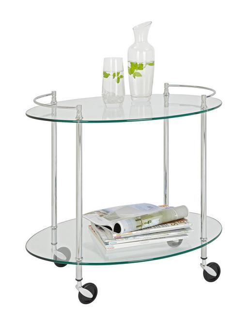 SERVIERWAGEN in Chromfarben - Chromfarben, Design, Glas/Kunststoff (68 63 46cm)