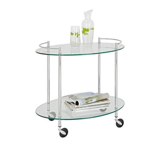 SERVIERWAGEN in Chromfarben  - Chromfarben, Design, Glas/Kunststoff (68/63/46cm)