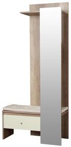 ŠATNA - barvy dubu/šampaňská, Konvenční, dřevěný materiál/sklo (90/196/39cm) - Boxxx