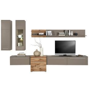 HYLLKOMBINATION - kromfärg/silver, Design, glas/träbaserade material (320/199/43cm) - Hom`in