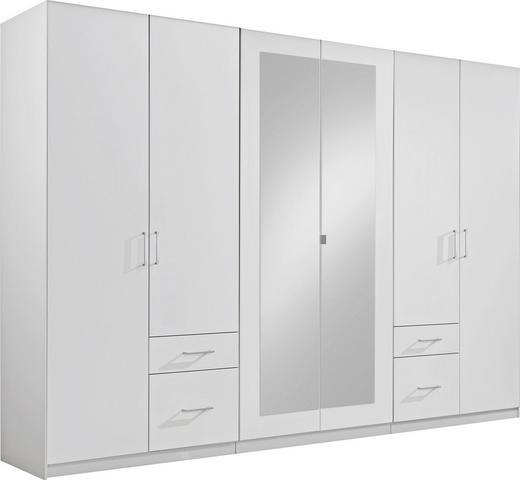 KLEIDERSCHRANK 6  -türig Weiß - Alufarben/Weiß, Design, Glas/Holzwerkstoff (270/210/58cm) - Carryhome