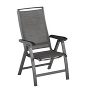 GARTENKLAPPSTUHL - Anthrazit/Graphitfarben, Design, Textil/Metall (63/115/69cm) - Kettler HKS