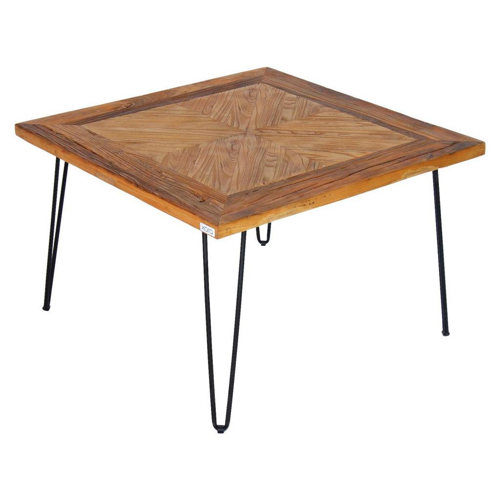 Quadratischer, kleiner Tisch aus Ulmenholz und Gußeisen
