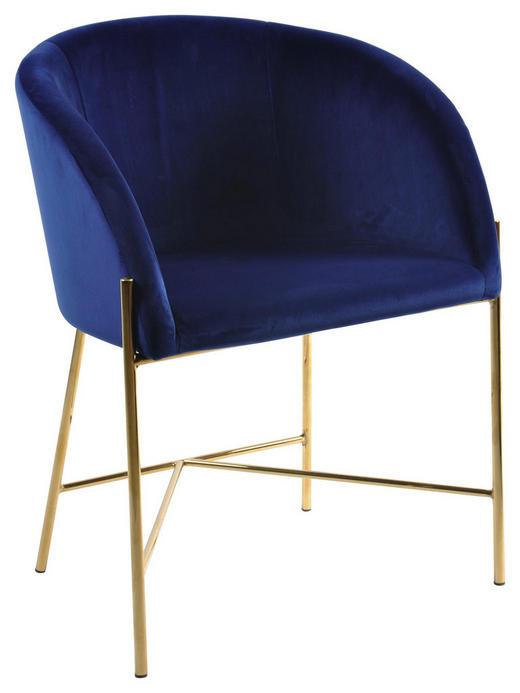STUHL Velours Dunkelblau - Goldfarben/Dunkelblau, Trend, Textil/Metall (56/76/54cm) - Carryhome