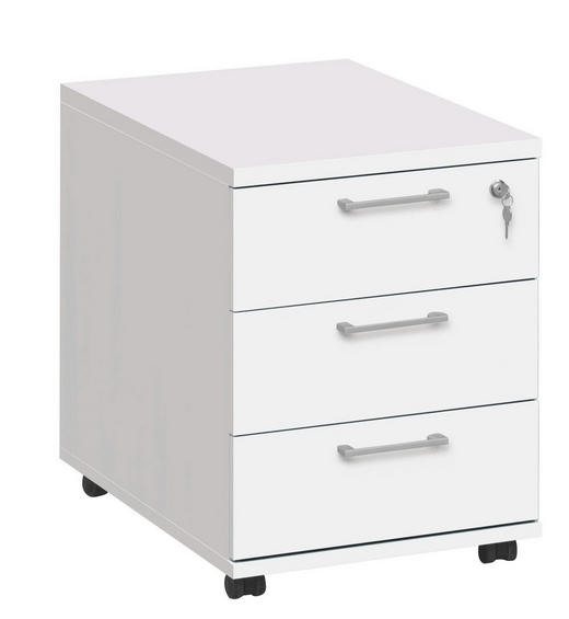 ROLLCONTAINER Weiß - Silberfarben/Weiß, Design, Kunststoff (45/57/61cm) - CS SCHMAL