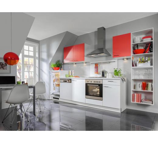 KÜCHENBLOCK - Rot/Weiß, Design, Holzwerkstoff (355cm) - Welnova