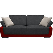 SCHLAFSOFA in Textil Grau, Hellgrau, Rot - Chromfarben/Rot, Design, Holz/Textil (214/83/95cm) - Venda