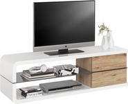 LOWBOARD lackiert Grau, Weiß, Eichefarben  - Eichefarben/Weiß, Design, Glas (150/45/40cm) - Xora