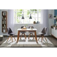 STUHL Webstoff Eichefarben, Hellgrau  - Eichefarben/Hellgrau, Design, Holz/Textil (49/87,5/56cm) - Carryhome