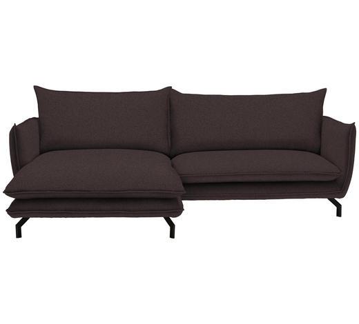 WOHNLANDSCHAFT in Textil Dunkelbraun - Dunkelbraun/Schwarz, MODERN, Textil/Metall (175/259cm) - Hom`in