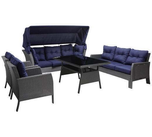 LOUNGE GARNITURA - tamno plava/tamno siva, Moderno, staklo/metal (207/162(84)/256cm) - Ambia Garden