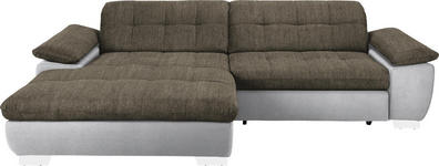 WOHNLANDSCHAFT in Textil Braun, Weiß  - Chromfarben/Braun, Design, Textil/Metall (180/265cm) - Carryhome