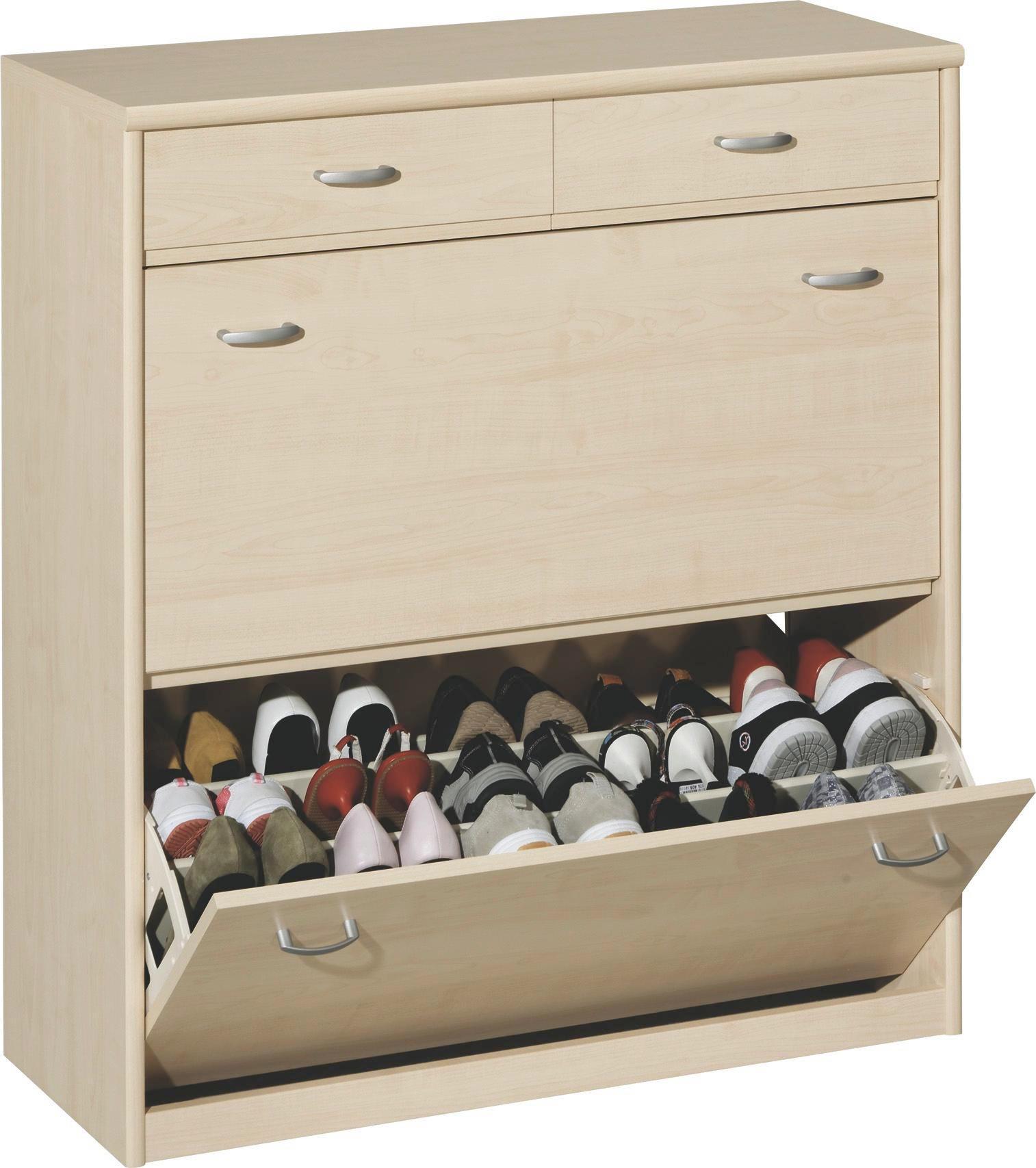SCHUHKIPPER - Silberfarben/Ahornfarben, KONVENTIONELL, Holzwerkstoff/Kunststoff (87/97/36cm) - CS SCHMAL