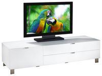 TV-ELEMENT Weiß  - Edelstahlfarben/Weiß, Design, Glas/Kunststoff (165/41,1/52,2cm) - Hom`in