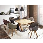 ARMLEHNSTUHL Wildeiche massiv Eichefarben, Bordeaux  - Bordeaux/Eichefarben, Design, Holz/Textil (58/83/59cm) - Linea Natura