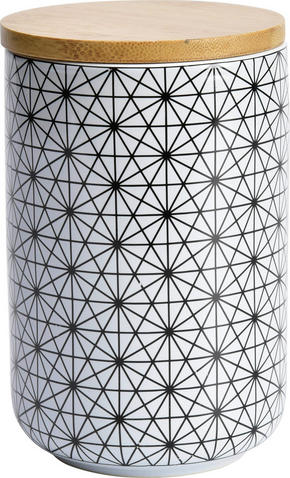 FÖRVARINGSBURK - vit/svart, Lifestyle, trä/keramik (10/15cm) - Landscape